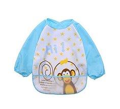 [Cute Monkey] Waterproof Sleeved Baby Bibs Baby Feeding Smock, 0-3 Years