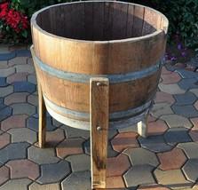 Planter Wine 1/2 Barrel with Legs Wood Plant Garden Patio Flower Outdoor... - $203.18