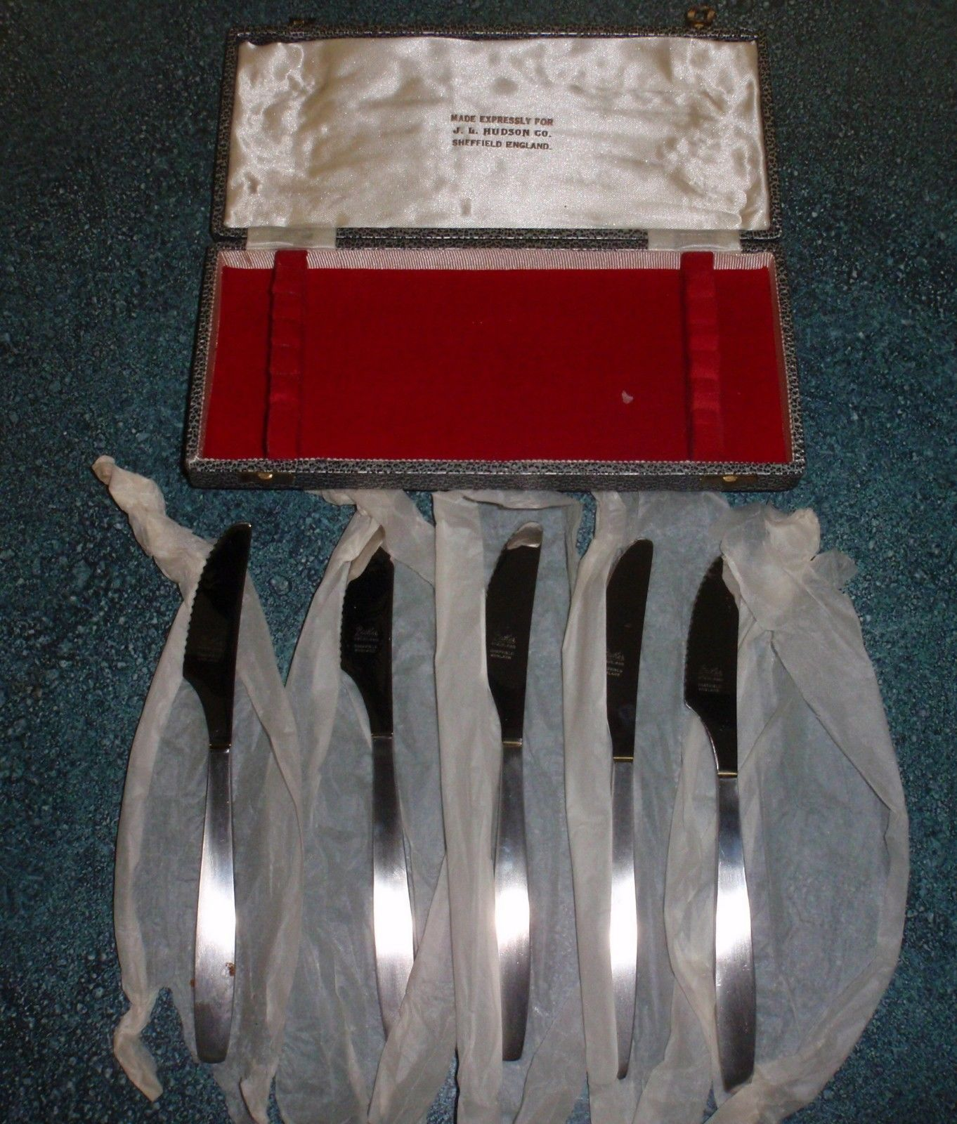 Primary image for Set of 5 Butlers Sheffield England Stainless Steel Knives With Case JL Hudson