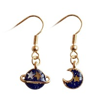 Personality Summer Style Deep Blue Five Point Star Moon Planet Earrings ... - £7.59 GBP