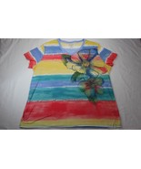 White Stag V Neck Floral Striped Studs Flowers Knit Top Womens Plus 2XL XXL - $14.84