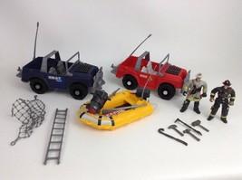Vintage 90's Chap Mei Lanard Rescue LOT Vehicles w/ Action Figures & Acc... - $24.70