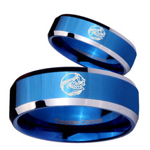 His Hers Angry Baseball Beveled Blue 2 Tone Tungsten Mens Ring Personsiz... - $79.98
