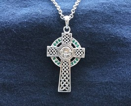 Large 925 Sterling Silver Irish Celtic Claddagh Cross Green CZ Pendant N... - $44.54
