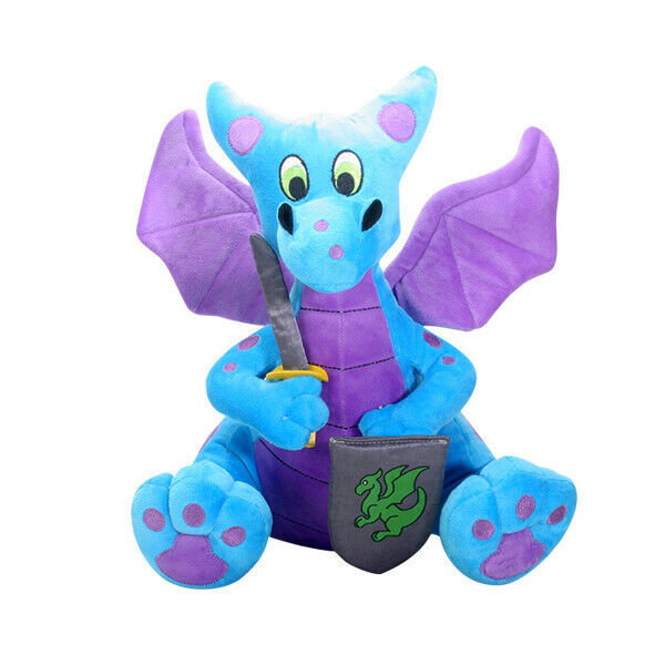 Primary image for Blue and Purple Medieval Knight Dragon Plush with Sword and Shield
