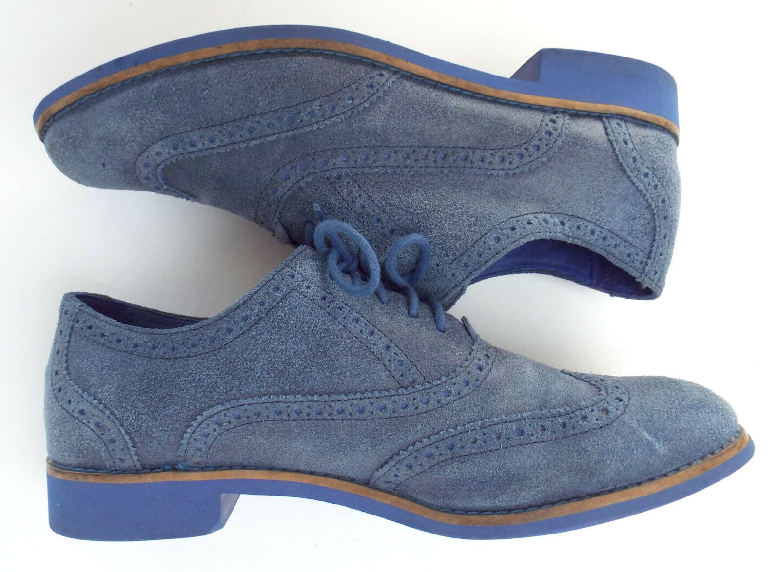 COLE HAAN Size 10 ALISA Blue Hammered Suede Lace Oxfords Shoes