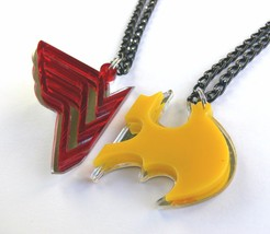 Wonder Woman Batman his and hers necklaces Laser cut red yellow plastic - $17.74