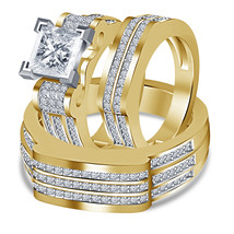 Men's & Ladies 14k Yellow Gold Plated 925 Silver Trio Diamond Wedding Ring Set - $159.20