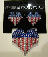 PATRIOTIC USA  RED WHITE & BLUE RHINESTONE HEART FLAG PATTERN  PIN & EAR... - $24.95