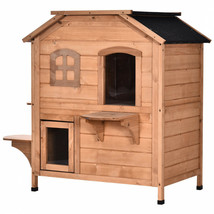 XL Wooden Cat House 2 Story Raised Indoor Outdoor Pet Dog Cottage Open R... - $242.46