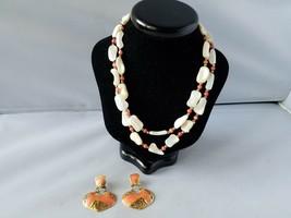 Berebi Vintage Earrings Gold Tone Coral Enamel & Mother of Pearl Bead Ne... - $55.79