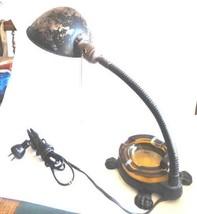 antique GOOSE NECK CLAW FEET LAMP No.1 w/AMBER GLASS ASHTRAY art nouveau... - $124.95