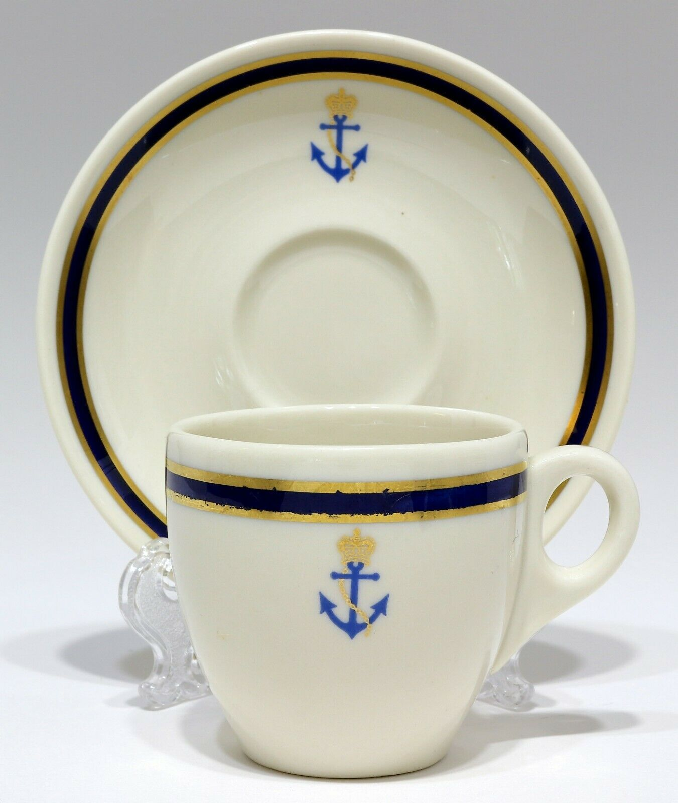 Primary image for RARE 1948 Syracuse China Demitasse Cup & Saucer CROWN ANCHOR GOLD BLUE NAVY