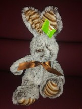 """Best Made Toys Easter Bunny Plush 13"""" Happy Go Fluffy NWT Gray Brown Stripe Feet - $17.41"""