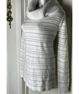 CHARTER CLUB Cowl Sweater Top Vanilla Ivory Metallic tunic-SZ PETITE L P/L - $19.60