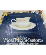 Vintage Floral Expressions Hearthside Stoneware Gravy Bowl with Tray Japan - $17.99