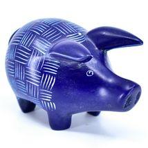 Tabaka Chigware Hand Carved Kisii Soapstone Dark Blue Pig Figure Made in Kenya image 4