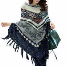 Vintage Fringe Bohemian Floral Knitted Women Pullover Poncho - $38.26