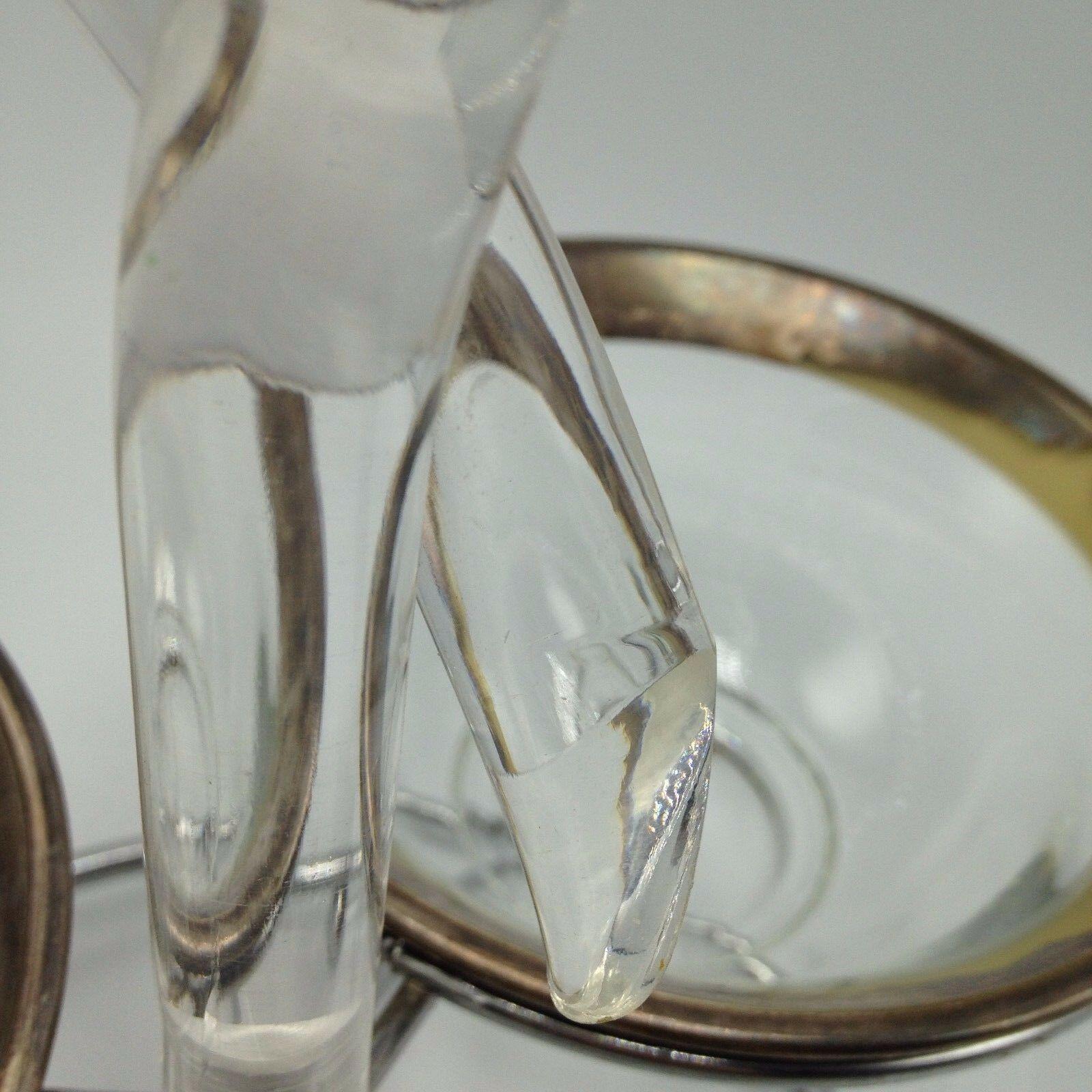 Dorothy Thorpe Lucite Twist 3 Bowl Silver Rim Server condiment Relish crystal