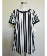 NWT L LulaRoe Liv Striped Black & Slight off White Tee Top Shirt   - $16.82
