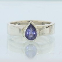 Purple Blue Iolite Pear Faceted Handmade Sterling Silver Ladies Ring size 7.25 - £43.68 GBP