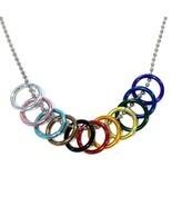 "PROGRESS PRIDE FREEDOM RINGS NECKLACE 20"" Chain LGBTQ Inclusive Rainbow ... - $10.95"