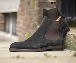 Handmade Men's High Ankle Chelsea Black and Brown Suede Boots image 4