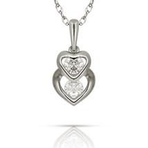 0.22ct Brilliant Round Created Diamond Double Heart Pendant 14k W Gold C... - $57.48+