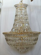 Large Waterfall Basket crystal prism Chandelier 2 tier 15 light Stunning! - $2,000.00