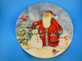 Santa & Snowman winter forest animals Plate Holiday Home 2005 Debi Hron ... - $7.29