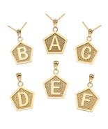 10K Yellow Gold Letter Initial Pentagon Pendant Necklace - $139.99+