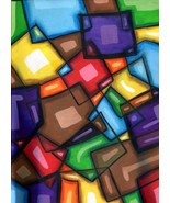 original art painting abstract modern geometric cubist rectangles square... - $25.00