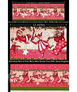 Extremely Rare Fabric, Christmas Merry Mice Border, Daisy Kingdom, Cane,... - $24.97