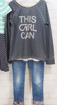 Gap Kids Outfit Set: Dress + GapFit This Girl Can T-Shirt + Bling Jeans M (8-9) image 5