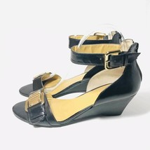 Nine West Women's Size 7 Leather Wedge Heel Gold Buckles Ankle Straps - $34.60