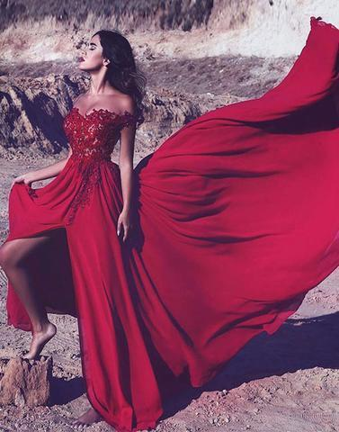 Red lace off shoulder long prom dress, lace evening dresses,PD2025