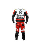 KAWASAKI RED MOTORBIKE MOTORCYCLE BIKERS COWHIDE LEATHER ARMOURED 2 PC SUIT - $339.99