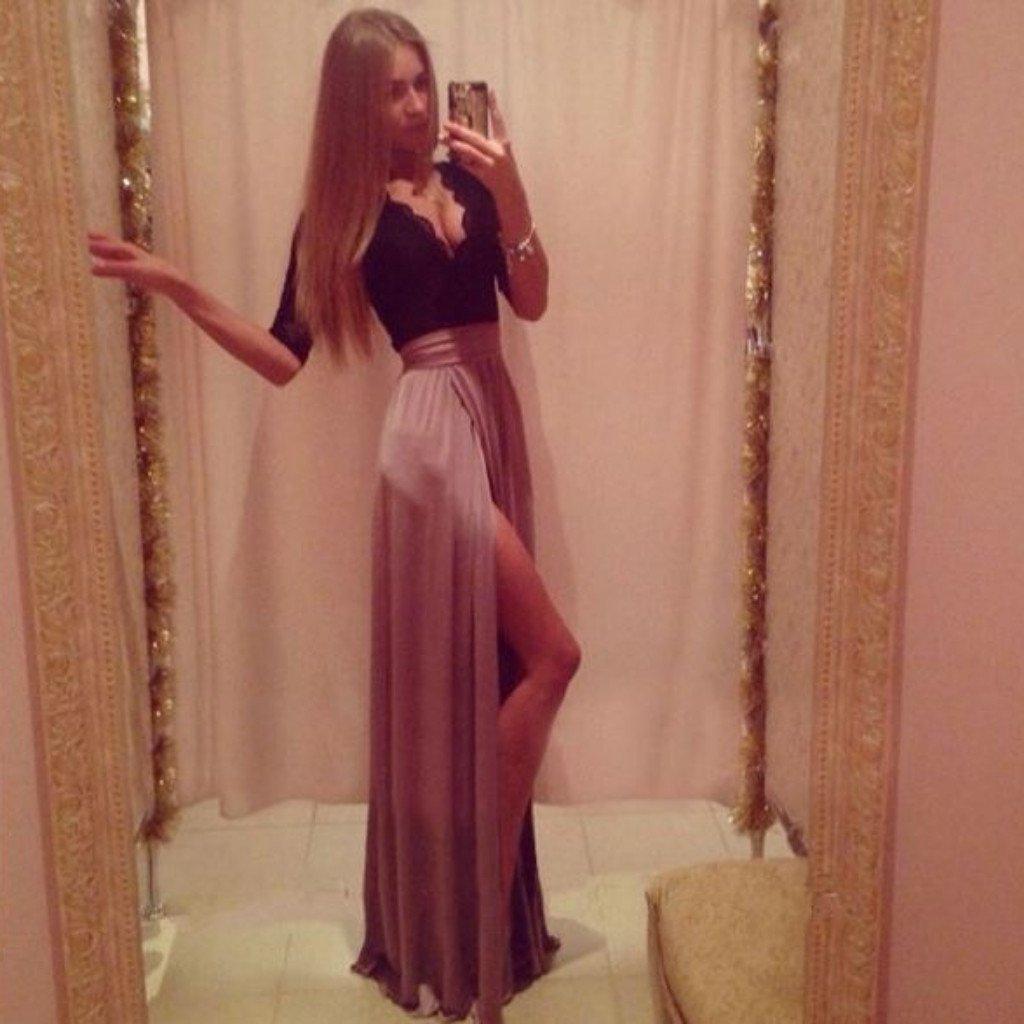 Sweet High Slit Lace Top Maxi Dress