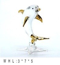Dolphin Hand Blown Clear Glass Golden Figurine Aquarium Marine Collectib... - $9.74