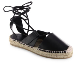 JIMMY CHOO Darby Vac Leather Lace-Up Espadrilles - SIZE US 9 NEW WITH BOX - $341.55