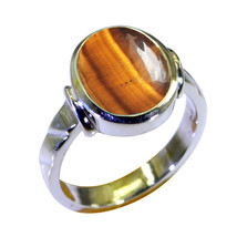 Natural Tiger Eye Gemstone Sterling Silver Statement Rings Oval Shape  S... - $19.80