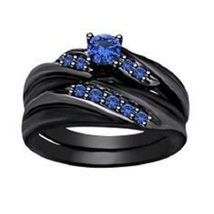 Round Cut Blue Sapphire 925 Sterling Silver Black Rhodium Finish Bridal Ring Set - $94.99