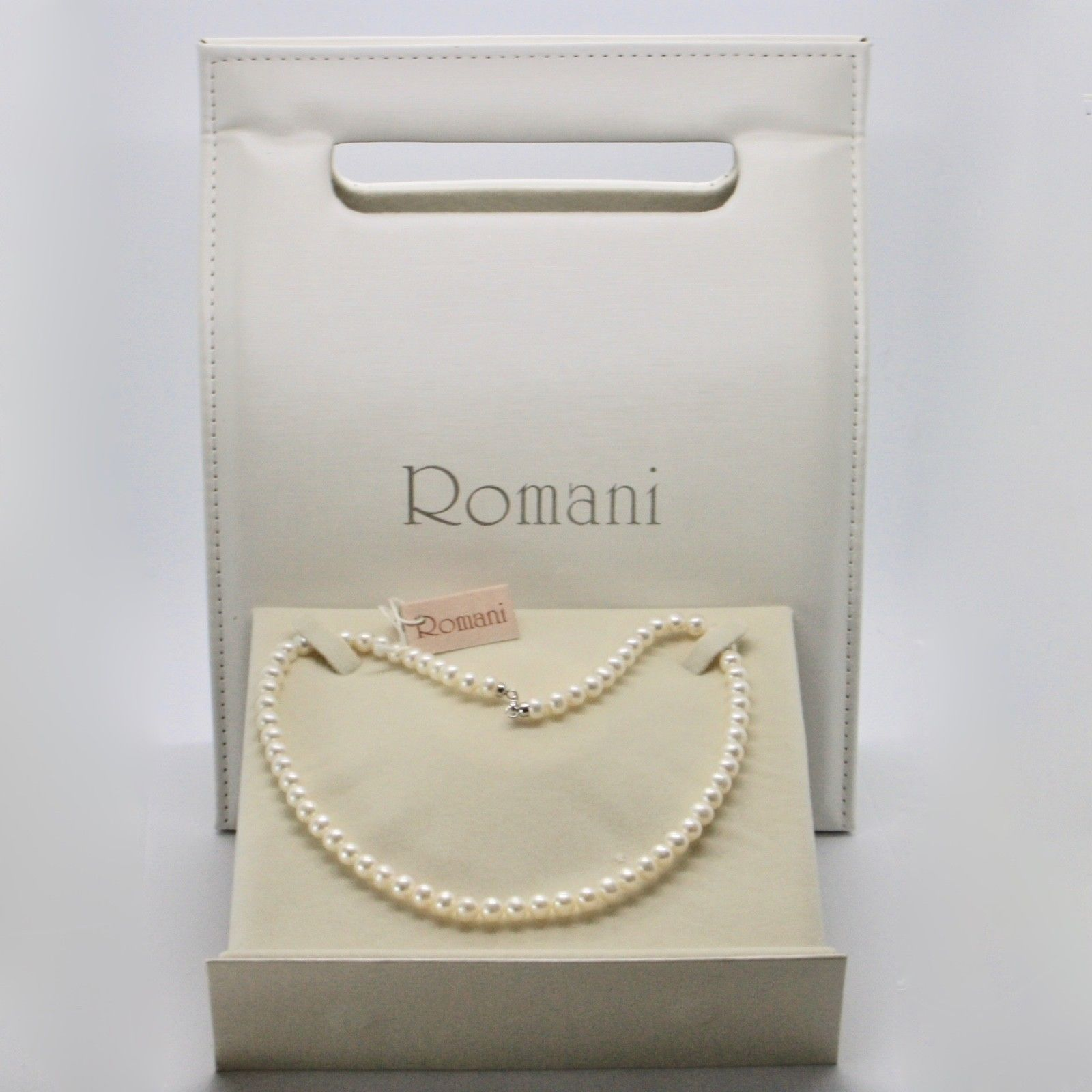 NECKLACE WHITE GOLD 18KT AND SILVER 925 WITH PEARLS 6 6.5 MM BEAUTIFUL BOX
