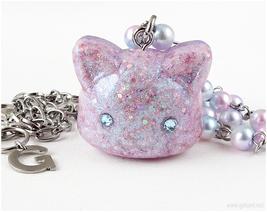 Resin Cat Necklace, Pastel Jewelry, Handmade, Harajuku Girl, Street Fashion - $20.00