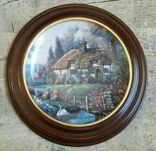 THOMAS KINKADE Collector Plate GARDEN PATHS OF OXFORDSHIRE WOODEN FRAME ... - $56.61
