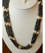 """Black & White Seed Pearl 4 Strand Necklace 21"""" Freshwater Gold filled beads - $44.50"""