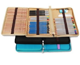 72 Holes Canvas Pencils Pouch Bag Folded Brush Case With Zipper Art Supp... - $22.78