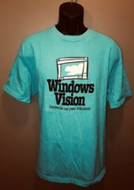 Vintage 90s MICROSOFT WINDOWS VISION USA Cotton Teal T-Shirt Hanes Beefy... - $93.95