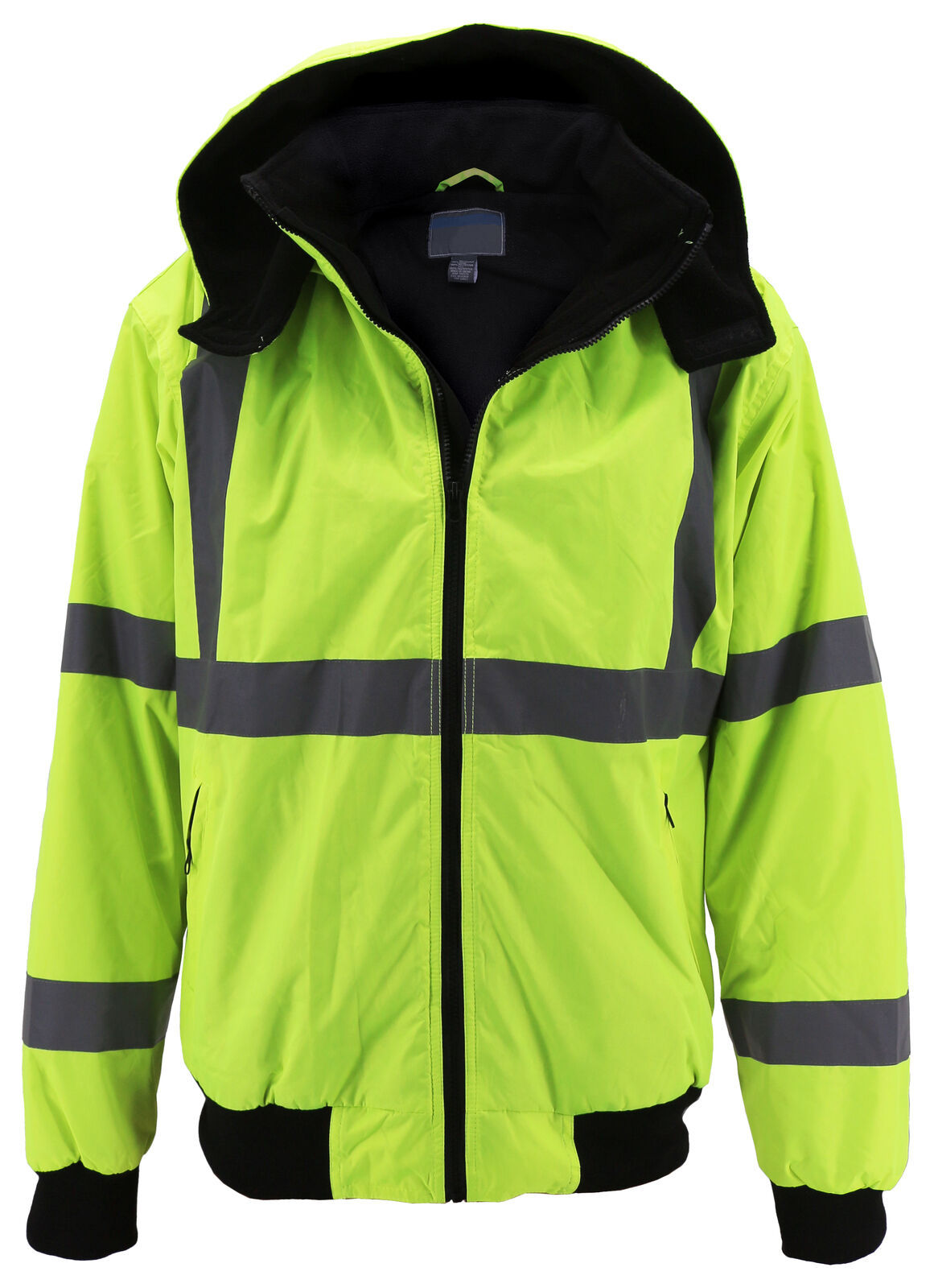 Men's Class 3 Safety High Visibility Water Resistant Reflective Neon Work Jacket image 2