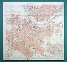 "1884 MAP Baedeker - GERMANY Dresden City Plan 11 x 11.5 "" (28 x 30 cm) - $16.20"